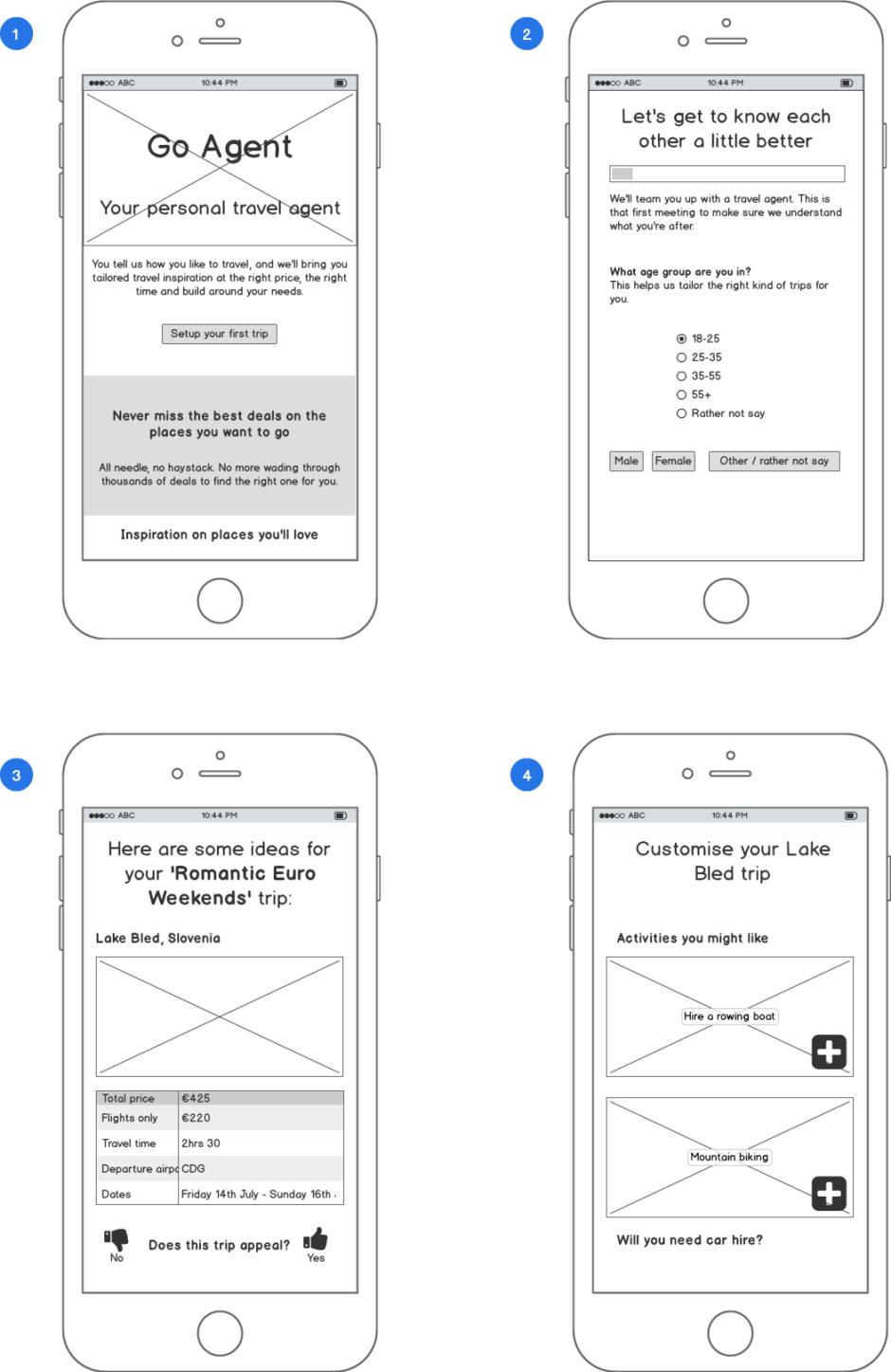 Initial Go Agent Wireframes
