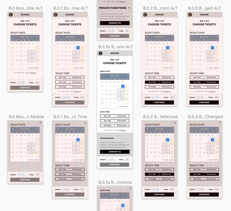 Booking Wireframes