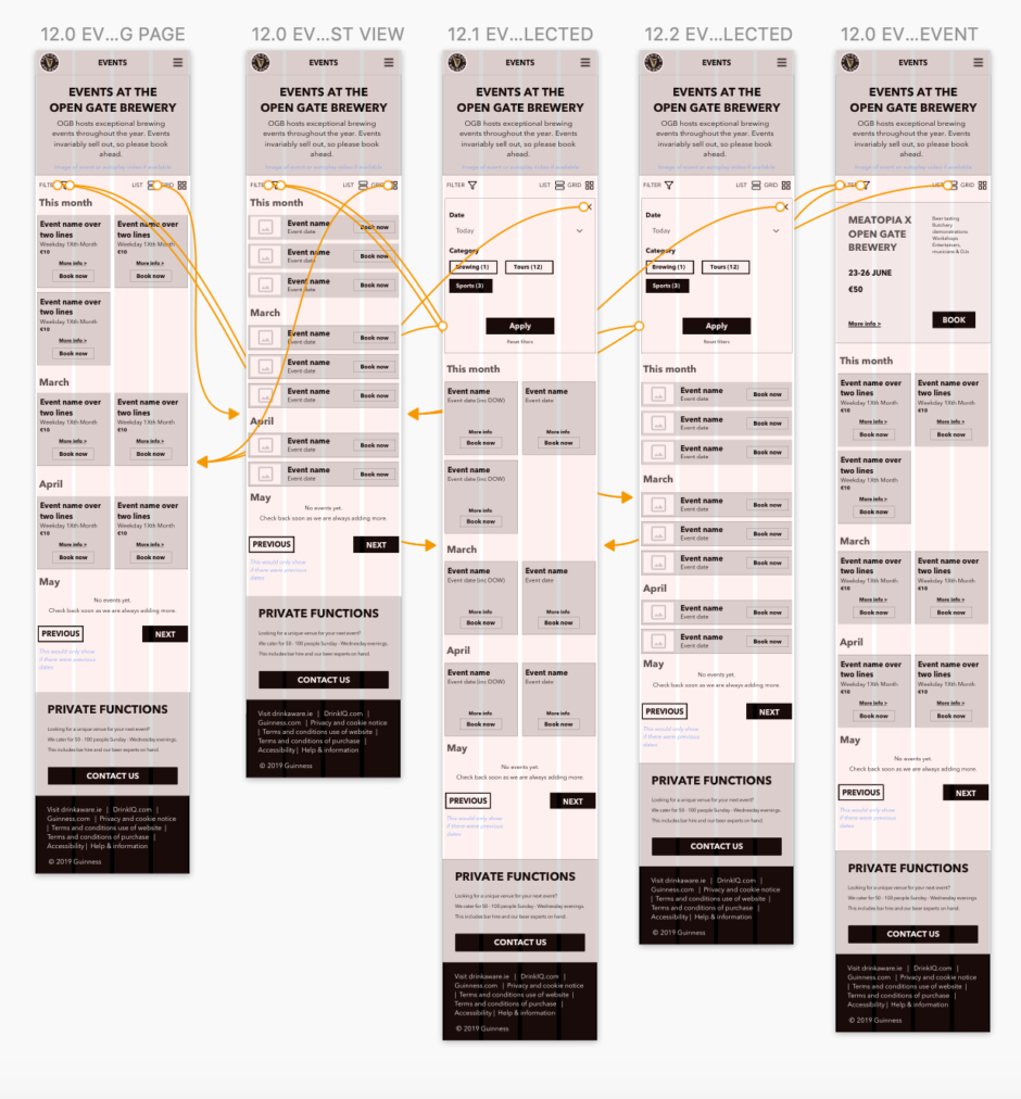 Events Wireframes