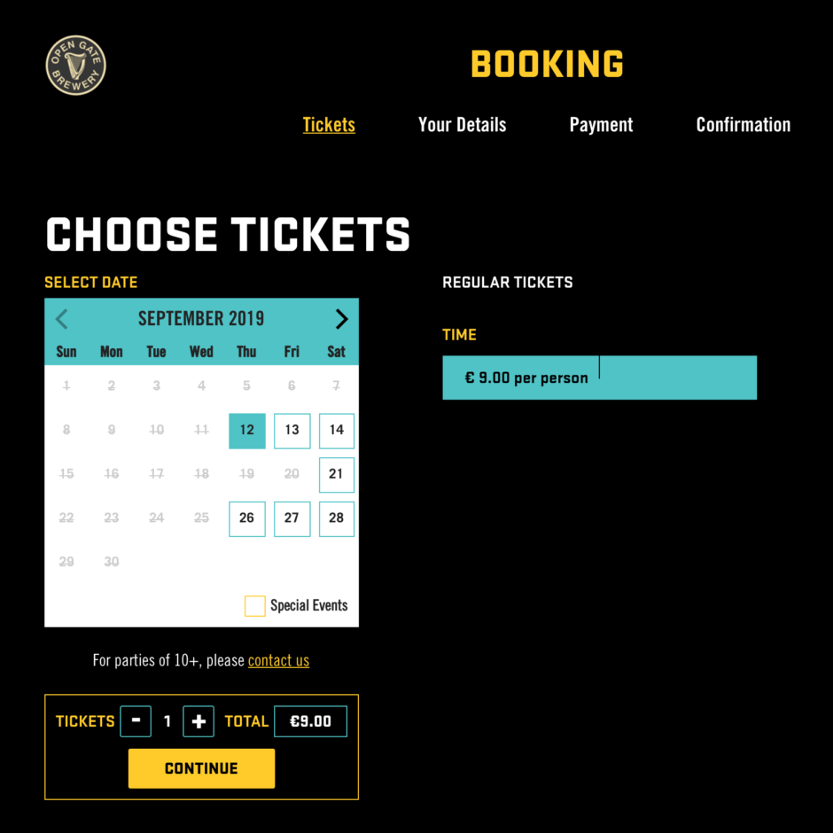 Guinness OGB Booking Page